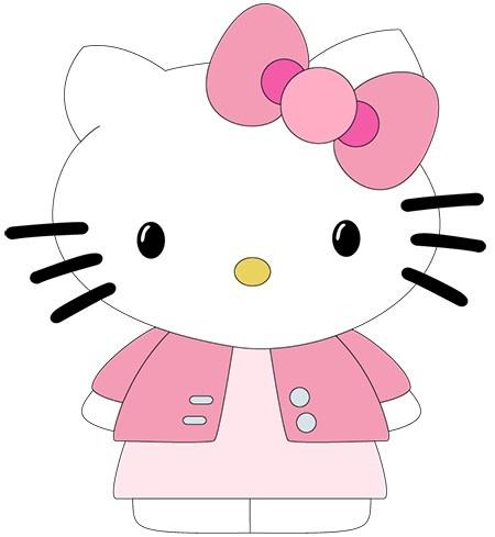 Ein neues Outfit für Hello Kitty - Jäckchen und Kleid. Einfach Schick und die Bastelanleitung lässt sich sehr einfach umsetzen, so dass das Wand- / Fensterbild auch gelingt.