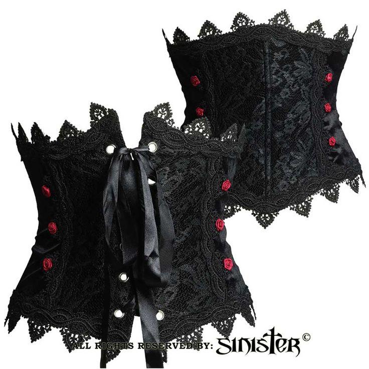 Sinister Launa fluwelen underbust korset riem met bordeaux satijnen ro