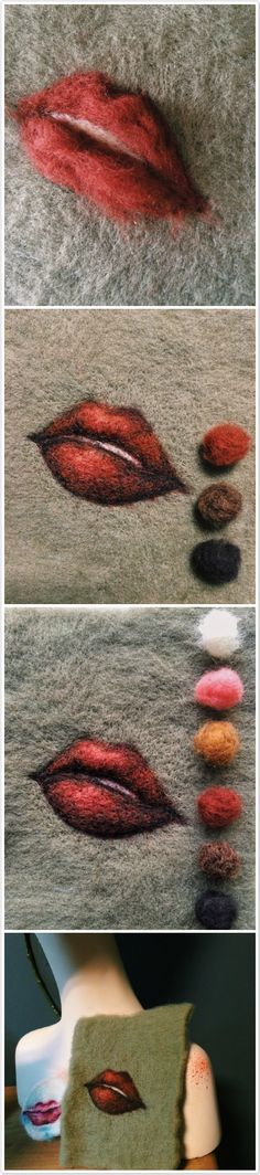 Steps of wool needle felting a red lip.