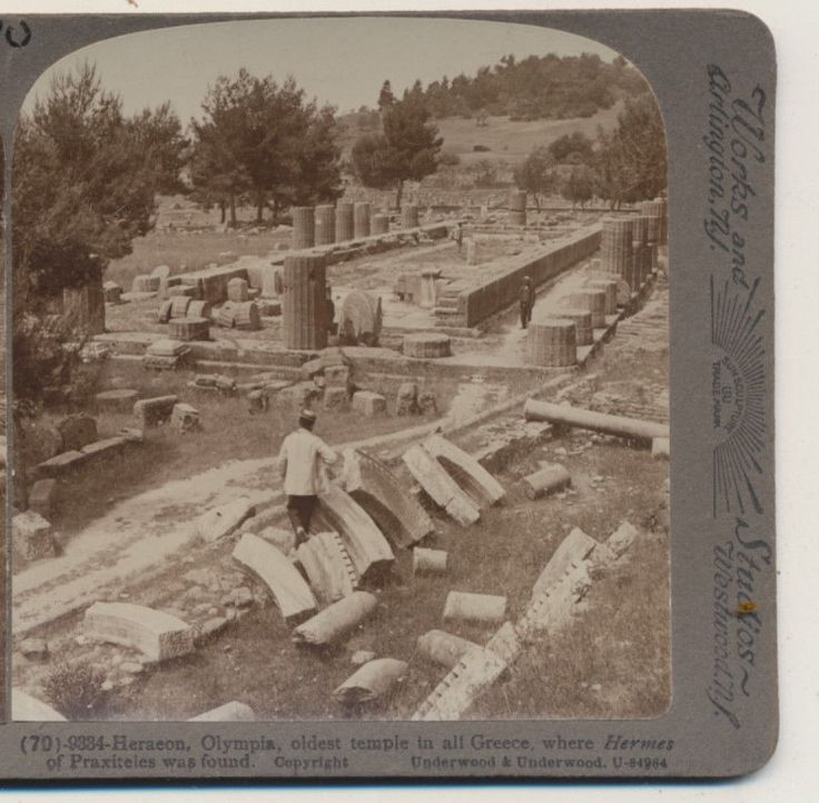 Heraeon Olympis Oldest Temple where Hermes was Greece Underwood Stereoview 1907