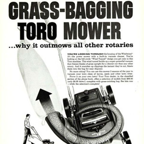 1959: Toro introduces the revolutionary Wind Tunnel housing on rotary mowers greatly enhancing quality of cut and making bagging possible on rotary mowers for the first time – Toro introduces the first bagging lawnmower.