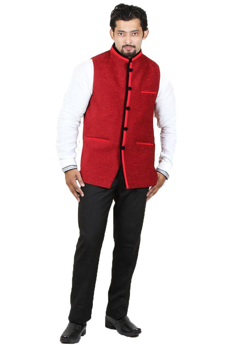 http://tinyurl.com/j34wqh8 Buy Exclusive Party Wear RAI SAHAB Rust Velvet Modi Jackets Online at Getabhi.com