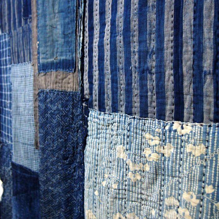 Antique Japanese Boro Patchwork Indigo Shikibuton (futon underquilt or padding)