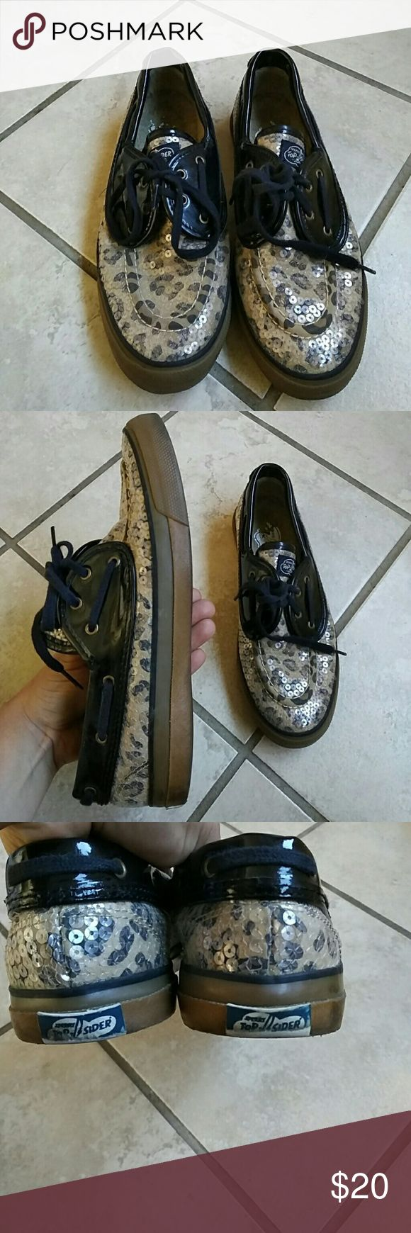 leopard sperry top sliders I love this pair of top sliders. Their so fun they have clear sequins on top that give a little reflection theyre adorable I purchased from another posher about a year ago never came around to wear them because they don't fit me.  Size 7.5 Sperry Shoes Flats & Loafers