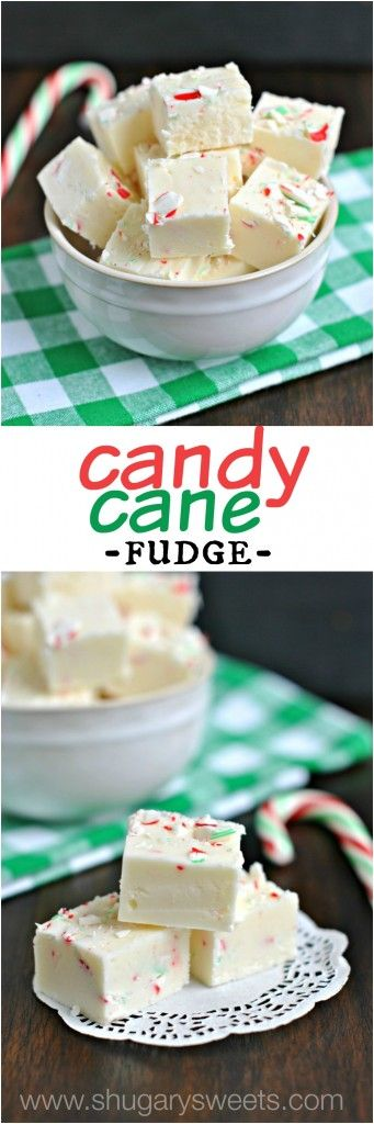 Candy Cane Fudge: a sweet fudge packed with crushed peppermint candy canes. Fun and festive for Christmas gift giving!