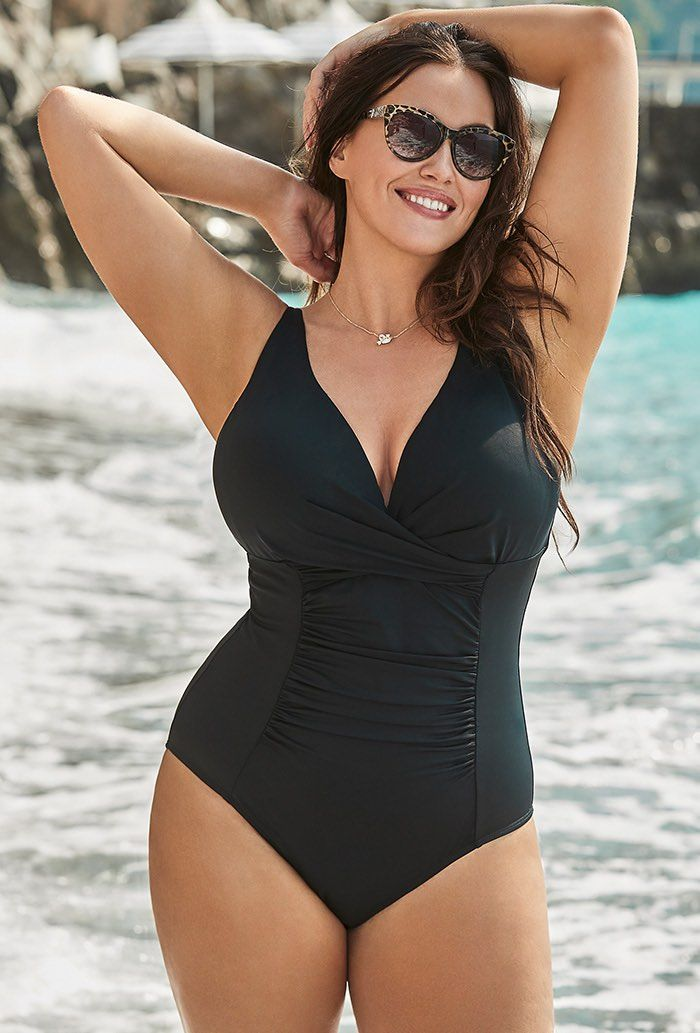 0455ac74054 Black Twist Ruched One Piece Swimsuit in 2019