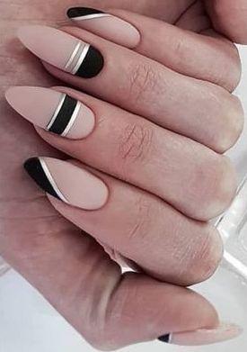 Cute pink and black nail art