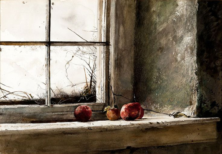 """Frostbitten"" by Andrew Wyeth. 1962 watercolor on paper. In private collection but on loan to the National Gallery of Art, Washington, DC, as part of their Andrew Wyeth: Looking Out, Looking In exhibition. (2014)"
