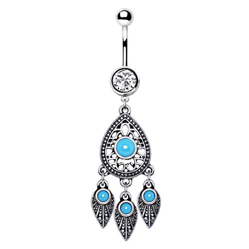Turquoise Teardrop and Feather Dangle