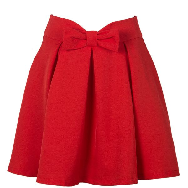 Choies Red Bowknot Waist Pleat Detail Skater Skirt (£11) ❤ liked on Polyvore featuring skirts, red, knee length pleated skirt, flared skirt, red skater skirt, circle skirt and red pleated skirt