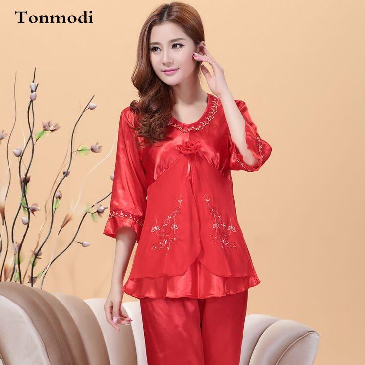 Pajamas For Women Luxurious Silk Pyjamas Marry Sleepwear V-neck  Ladies Pajama Set