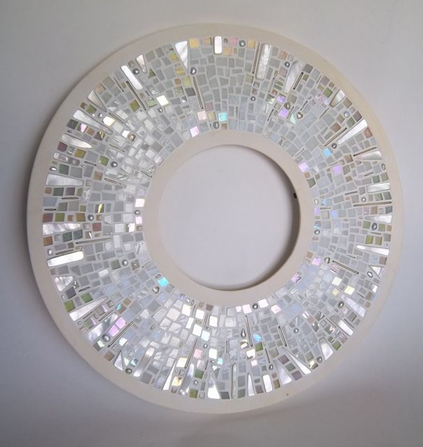 "New mirror/frame (can be either) made with 1/4"" stained glass tiles, shell/mother of pearl, freshwater pearls, glass beads, micro tiles and oval tiles."