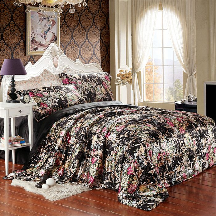 wholesale cheap plaid for bed linge de lit duvet set silk floral in black silk