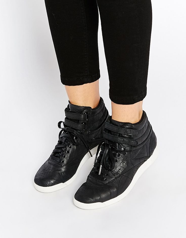 Reebok Premium Lux Leather High Top Black Trainers
