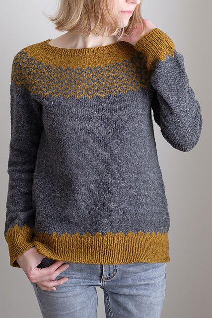 Пуловер с жаккардом спицами
