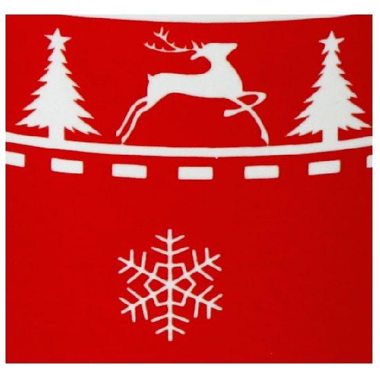 Deze rode kerst beker heeft een opdruk van hertjes en sneeuwvlokjes. Afmeting: ca. 8 x 9,5 cm. Materiaal: keramiek. Inhoud: ca. 300 ml.