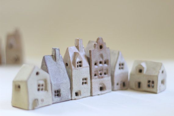 Ceramics and pottery. Tiny village of 6 ceramic cottages. English ceramics housewarming present. Clay Birthday present. Ceramic houses