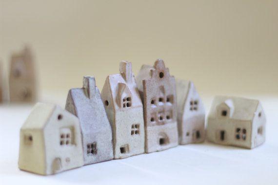Ceramics and pottery. Tiny village of 6 ceramic cottages. English ceramics housewarming present. Clay Birthday present. Ceramic houses