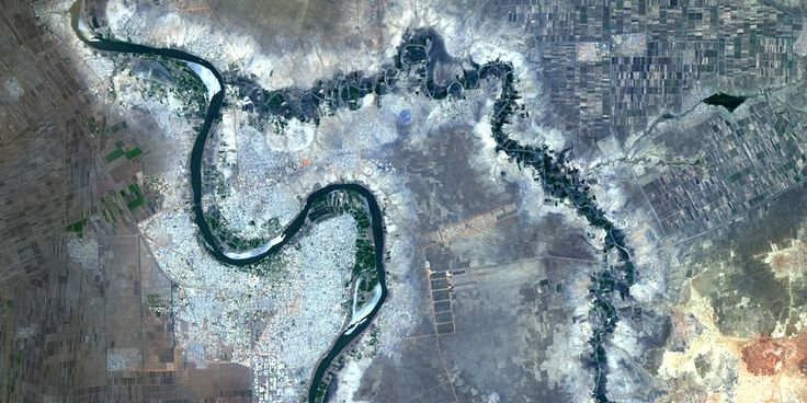 City of Wad Madani, Sudan on the west bank of the Blue Nile and agriculture along the river - PlanetSAT satellite image
