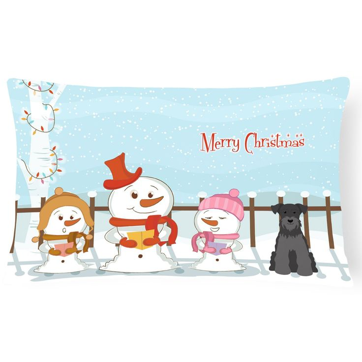 Carolines Treasures Merry Christmas Carolers Miniature Schnauzer Outdoor Pillow - BB2382PW1216