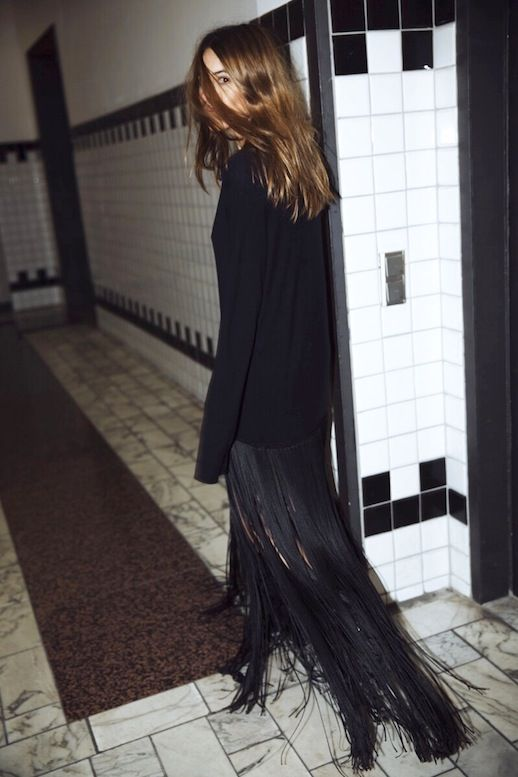 Le Fashion Blogger Style Wavy Hair Long Black Fringed Hem Celine Dress Via Maja Wyh