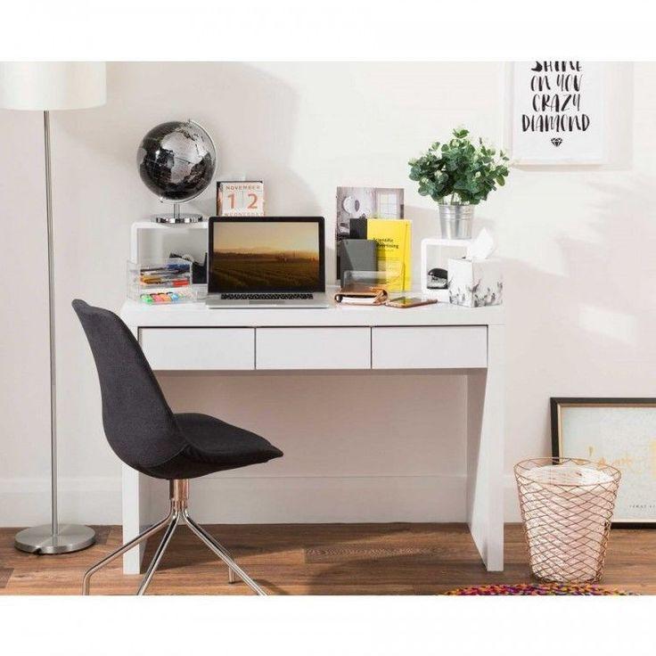 White Computer Workstation Desk Wood Office Furniture Storage Shelves Drawers