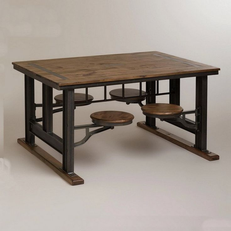 Barato País da américa retro pequena sala de jantar combinação de madeira sólida para fazer o velho ferro forjado e cadeiras uma quadrada, Compro Qualidade Mesas de Jantar diretamente de fornecedores da China:
