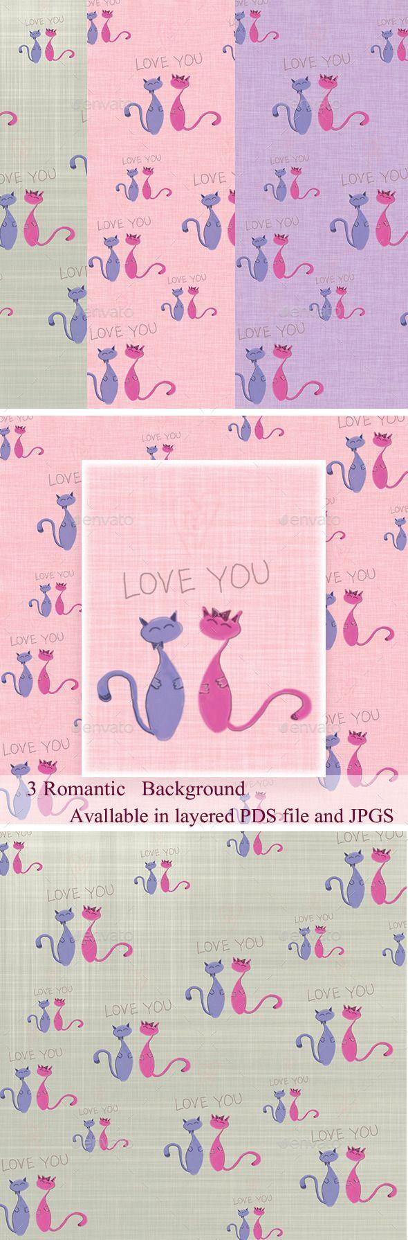 Set of 3 Romantic Backgrounds