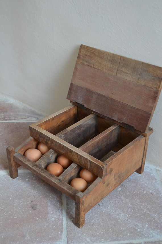 French Vintage Wooden Egg Tray Egg Storage by catherinelovevintage