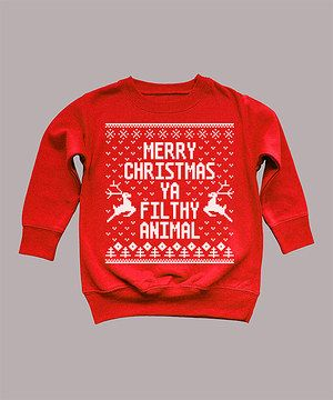 This holiday sweatshirt was crafted with a cool print that mimics the fun, festive look of an ugly sweater. Soft and easy to pull on overhead, it makes a great alternative to pulling those old, itchy wool pieces out of the closet.