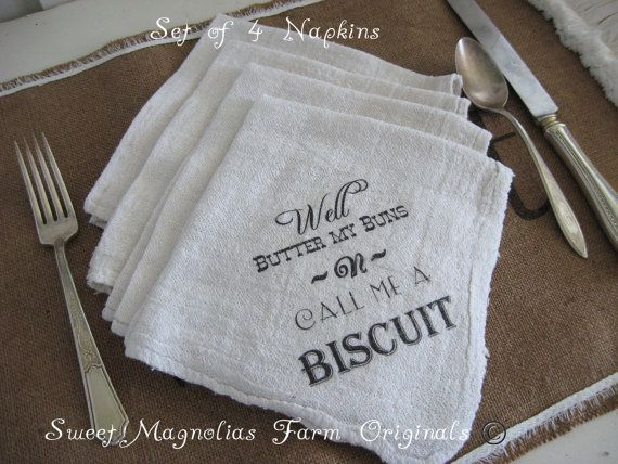 Farmhouse Napkins Set of 4 Well Butter my by SweetMagnoliasFarm, $12.50