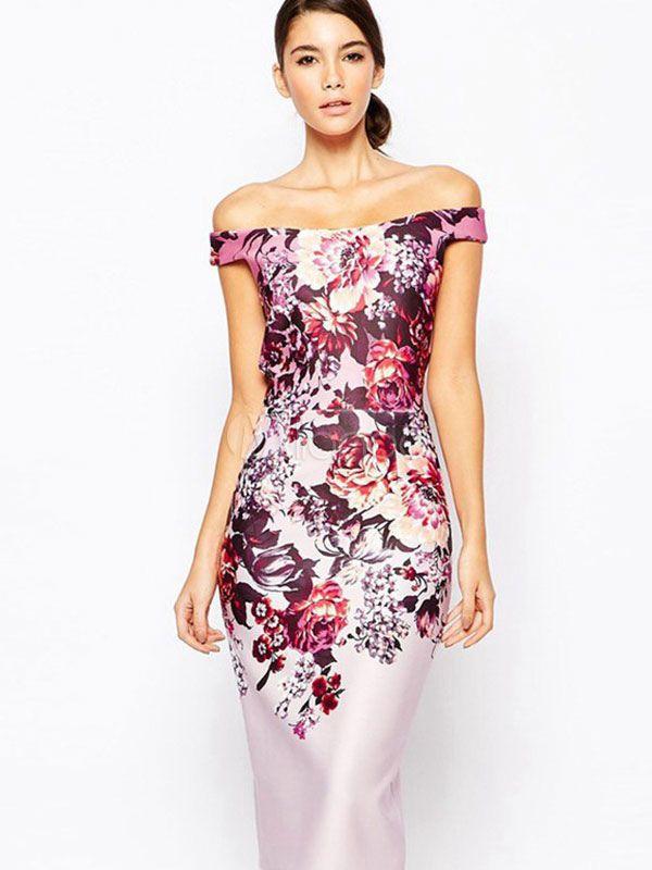 Print Bodycon Dress Multicolor Off-The-Shoulder Spandex Dress