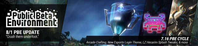 nice 8/1 PBE Update: Arcade Boss World Crafting, New Esports Login Theme, LZ Hecarim Splash Tweaks, & more