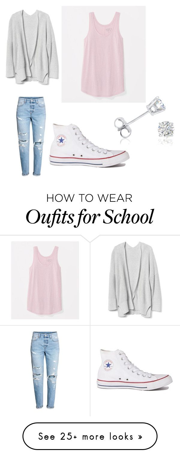 """""""First day of school"""" by amna-khan5724 on Polyvore featuring LOFT, Converse and Amanda Rose Collection"""