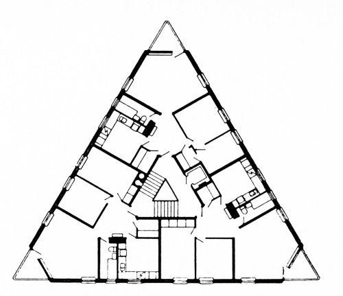 Sven Brolid and Jan Wallinder, Triangular Residential Block, Plan, Kortedala…