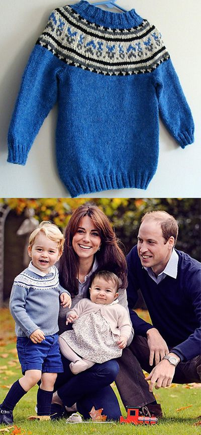 Free knitting pattern for Prince George's Fair Isle sweater from Christmas 2015