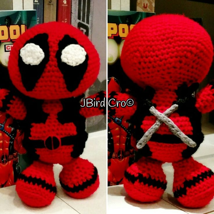"""New and improved """"teddy bear"""" Deadpool with swords (9 inches, crochet)."""