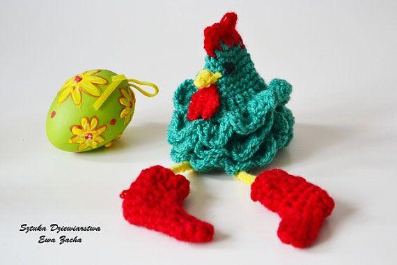 ROOSTER Crochet Easter egg decorations cozy Chicken von ilovemyyarn
