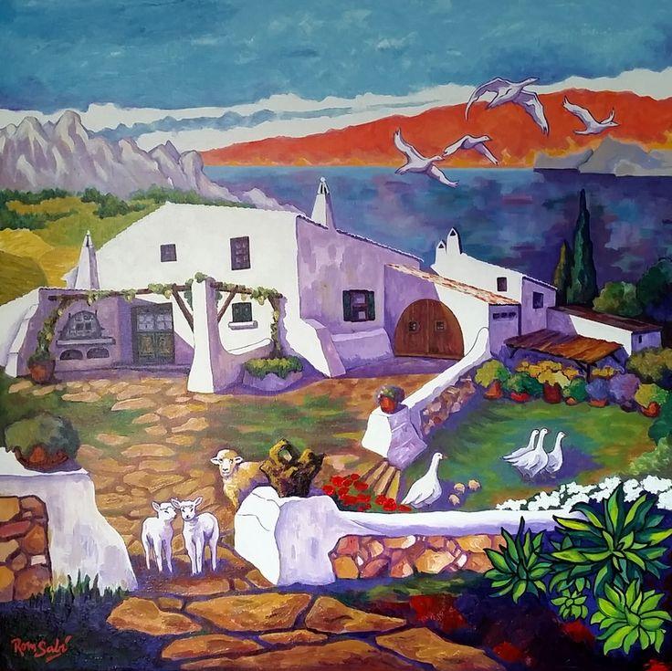 """# 395 """"Lloc"""" en isla Minorica 1. - Autor: RomSabi, acrílico y esmaltes - sobre tabla de madera, 70x70cm."""