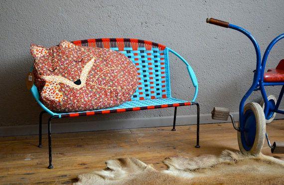 Small sofa vintage retro child Chair pop 50s scoubidou kid sofa midcentury french furniture design kid kid bedroom armchair