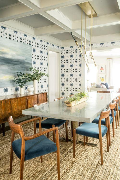 midcentury modern furniture, Eskayel wallpaper, hanging brass lighting