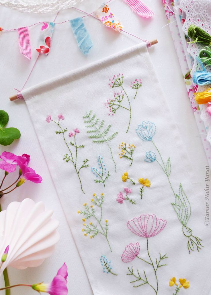 Embroidery Kit, Hand embroidery - Botanical flowers by TamarNahirYanai on Etsy https://www.etsy.com/listing/214696005/embroidery-kit-hand-embroidery-botanical