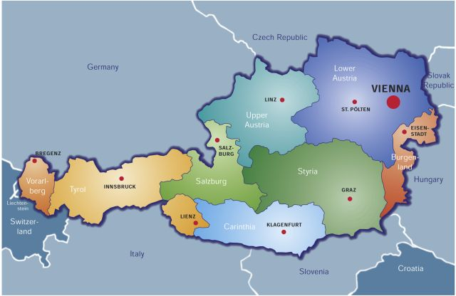 Map of Austria with it´s nine provinces and the according capitols.