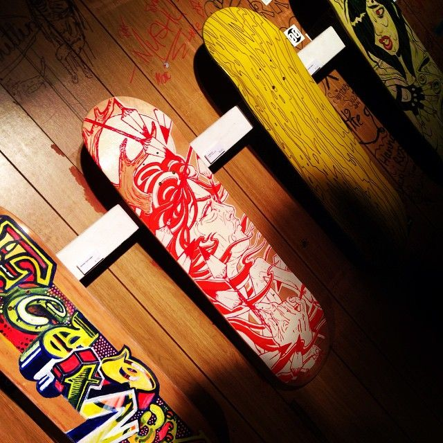 Picture from the 'I Used to Skate Once 11' skateboard art exhibition at The Zoo on Friday Night!  Rad turnout, 'Diana - Huntress and Prey' (the red one) is a limited edition of a tri-colour , hand silk screened board made of maple. Designed personally by Aureole you can expect these to disappear quick!  More to come soon