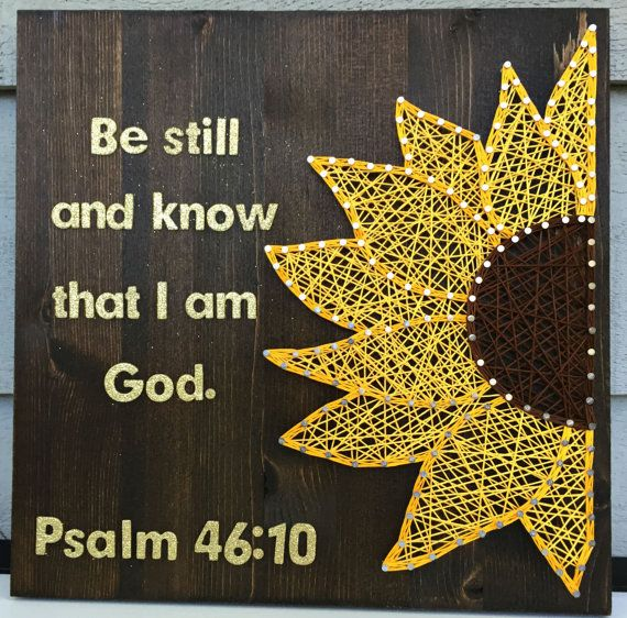 Brighten up your life with this customizable sunflower piece!  This listing is for a sunflower string art on wood board measuring approximately
