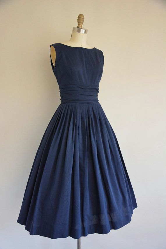 1950's Navy Dress with Matching Jacket: