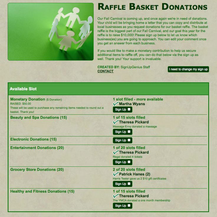 collecting raffle basket donations and silent auction