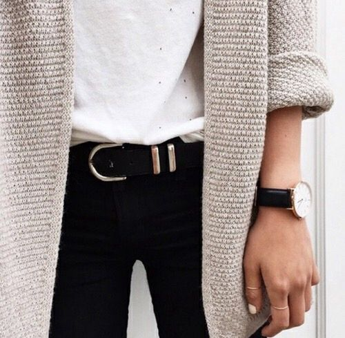 Thick knit cardigan.