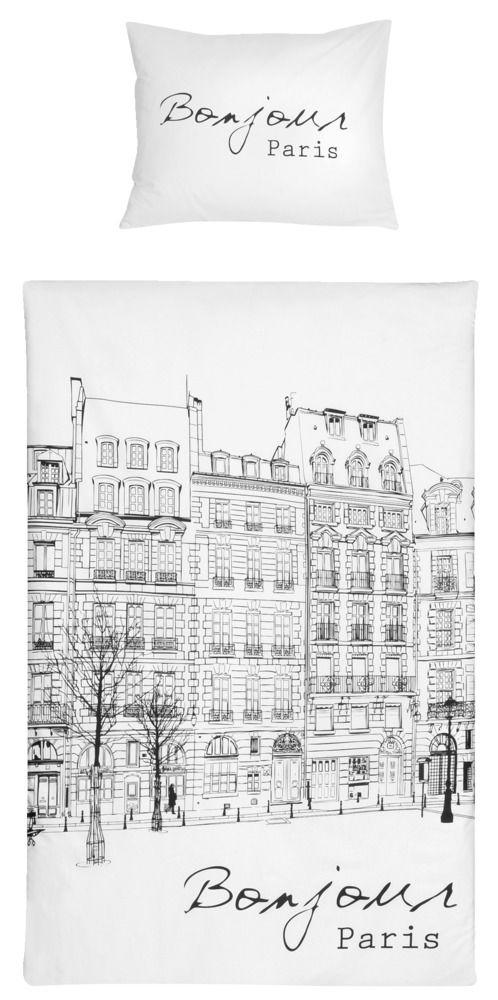 Dekbedset Aline: waan je in Parijs onder deze dekbedset in zwart en wit