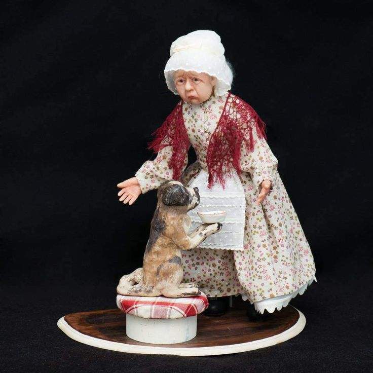 Dolls – Old Mother Hubbard and her Dog  – a unique product by Elena-harf4g on DaWanda